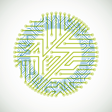 Abstract computer circuit board illustration.ract illustration of circuit board in the shape of circle.