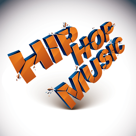 hip fracture: Collection of 3d disco music words broken into pieces. Illustration