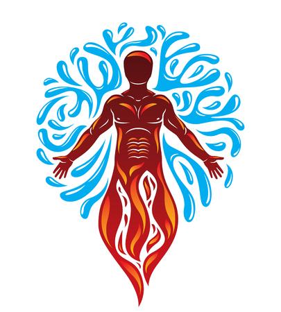 신화 고대의 신처럼 서있는 인간의 그림. 일러스트