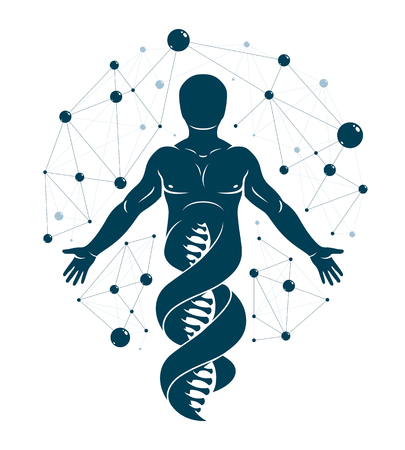 Graphic illustration of human made as DNA strands.