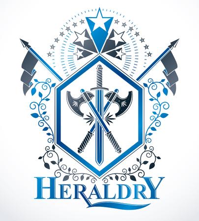 Heraldic insignia design. Illustration
