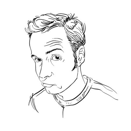 Art drawing of doubtful guys.