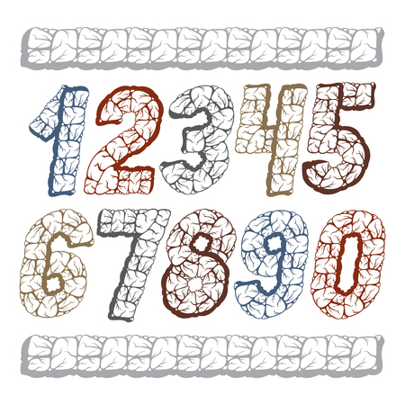 Set of stylish digits modern numerals collection.