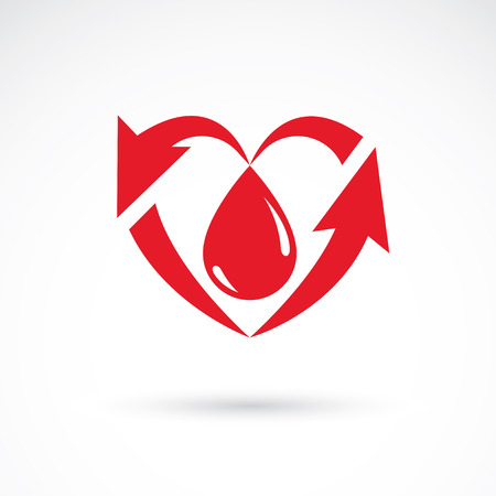 blood transfer: Illustration of heart shape full of blood composed with arrows.