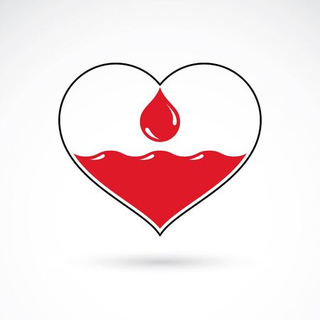 Illustration of heart shape and drops of blood. Illustration