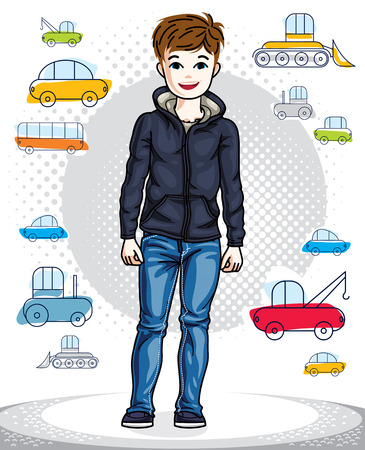 school age: Sweet little boy standing in stylish casual clothes.