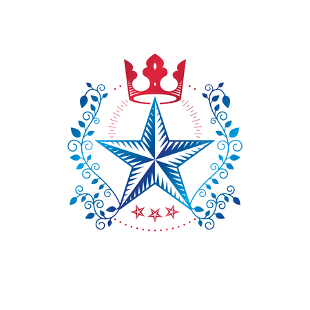 Military star emblem created with royal crown and laurel wreath. Illustration
