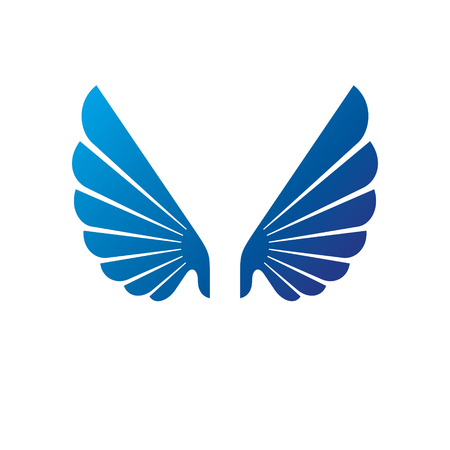 Ancient blue wings heraldic symbol.