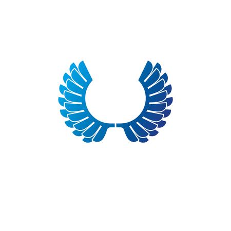 Blue wings heraldic symbol.
