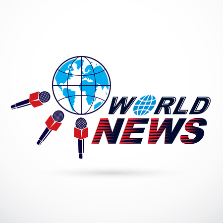 Earth planet news illustration surrounded with microphones.