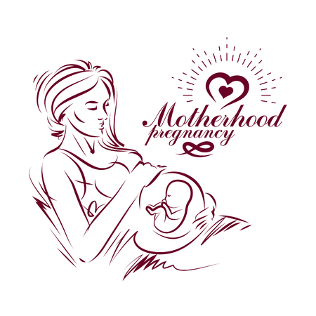 Elegant pregnant woman body silhouette drawing. Illustration