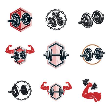 Fitness and athletics theme illustrations.