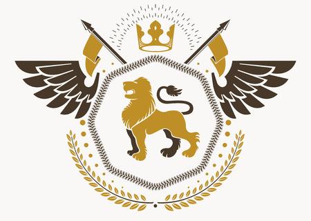 winged lion: Concepto de diseño de emblema heráldico. Vectores
