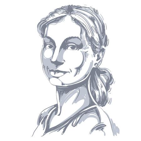 Portrait of  good-looking woman. Illustration