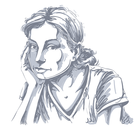 Hand-drawn illustration of white skin sorrowful attractive lady. Illustration