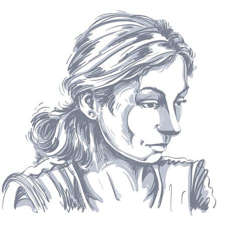 Portrait of a sad attractive woman.