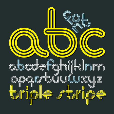 Lowercase funky disco alphabet letters.