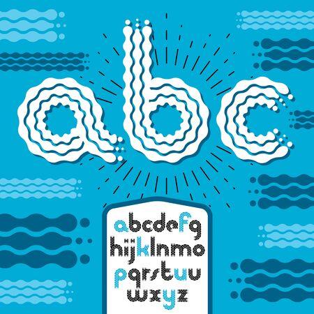 Lower case modern disco alphabet letters. Illustration