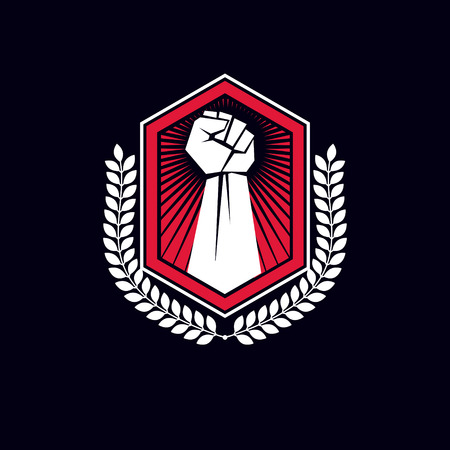 Emblem with arm fist and shield.