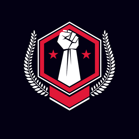 Emblem with arm fist, stars and shield.