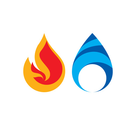 passion  ecology: Composition of water and fire elements. Illustration