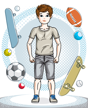 school age: Good looking boy standing wearing fashionable casual clothes.