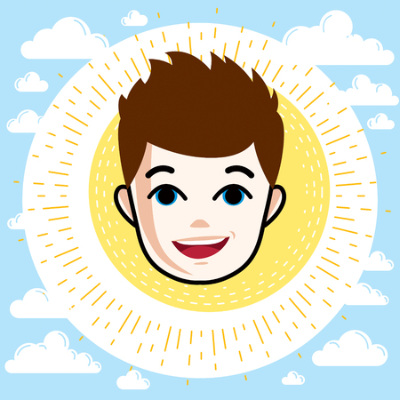 school age: Happy boy teenager with stylish haircut.
