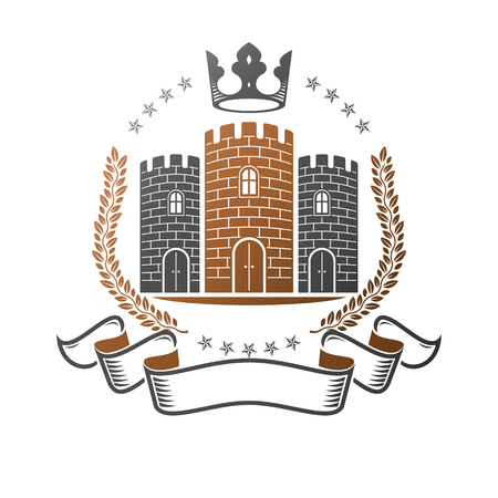 Heraldic coat of arms decorative illustration. Illustration