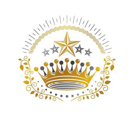 Royal crown emblem illustration. Illustration