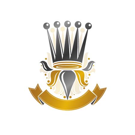 Ancient crown emblem illustration.