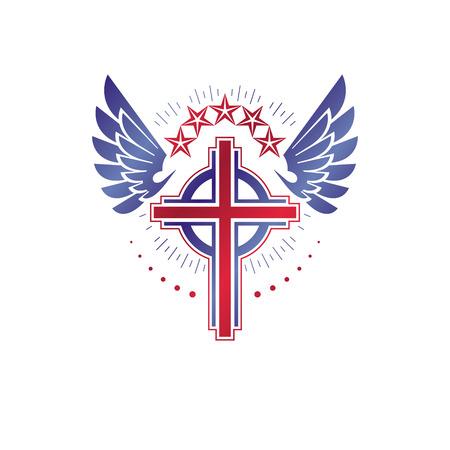 Cross graphic winged emblem illustration. Illustration