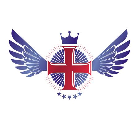 Cross graphic emblem illustration. Illustration