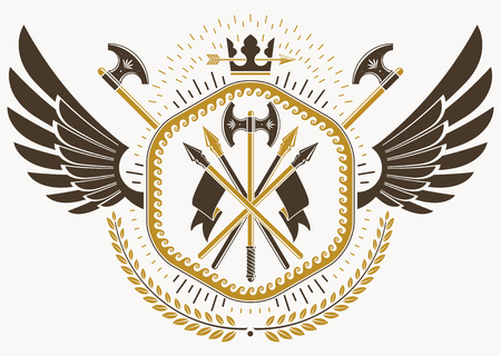 Vector illustration of old style heraldic emblem made with eagle wings, hatchets and monarch crown Illustration