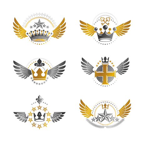 Royal Crowns and Ancient Stars emblems set. Heraldic Coat of Arms decorative logos isolated vector illustrations collection.