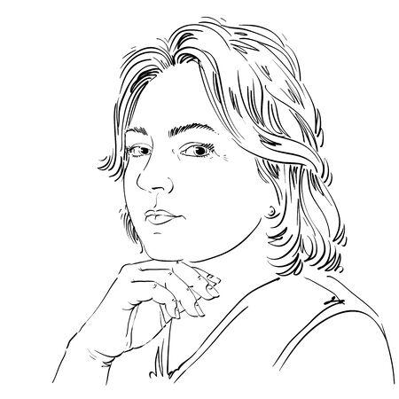 Vectorportret van aantrekkelijke vreedzame vrouw, illustratie van goed kijkend stil meisje. Persoonlijk emotionele gezichtsuitdrukking.