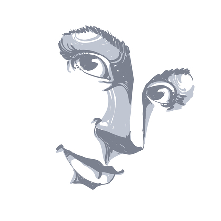 Hand-drawn art portrait of white-skin woman