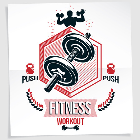Bodybuilding championship advertising leaflet composed using vector illustration of muscular sportsman holding fitness dumbbells and with disc weight dumb-bell sport equipment. Illustration