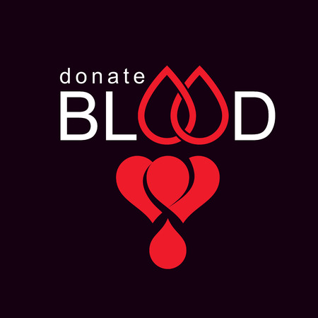 Volunteer donorship, healthcare and medical treatment conceptual logo composed with red heart shape and blood drops.