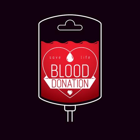 血寄付のために準備血スポイトのベクトル イラスト。輸血の比喩、医療エンブレム。