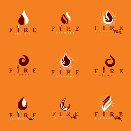 Set of  fire emblems.