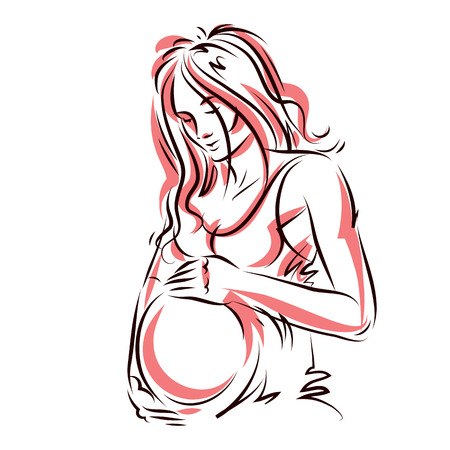 fondle: Attractive pregnant woman body silhouette drawing.