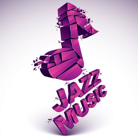 3d vector musical note broken into pieces, explosion effect. Dimensional magenta art melody symbol, jazz music theme. Illustration