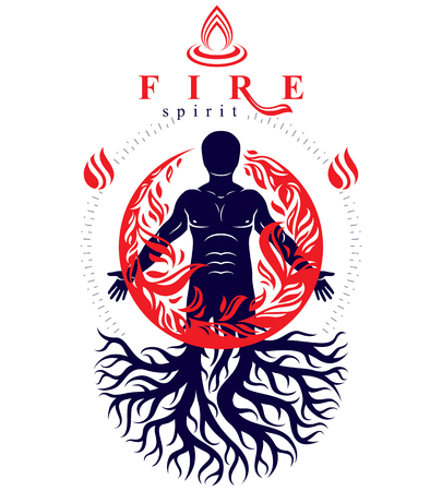 blacksmith: Vector illustration of human being created with tree roots. Human and nature harmony, fire man covered with a fireball. Illustration