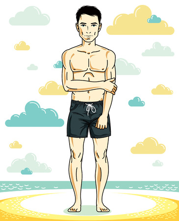 Handsome young man standing on tropical beach in black shorts. Illustration