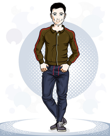 Confident handsome brunet young sporty man standing. Illustration