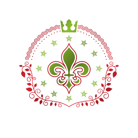 Royal symbol Lily Flower graphic emblem composed with king crown. Heraldic vector design element. Retro style label, heraldry logo.