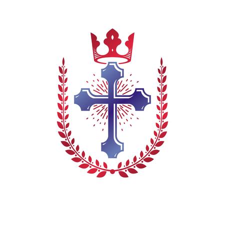 Christian Cross decorative emblem. Heraldic vector design element composed with laurel wreath and imperial crown. Retro style label, heraldry logo, religious vintage symbol.
