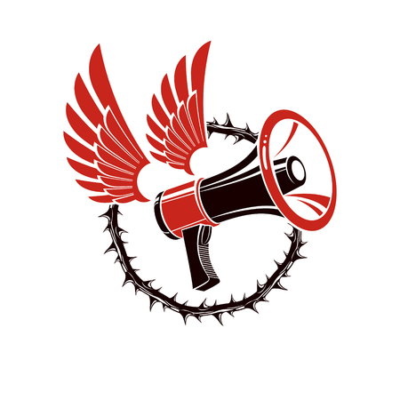 Vector winged illustration composed with loudspeaker equipment surrounded by thorn of crowns. Public relations concept, propaganda as a powerful weapon of influence on social behavior.