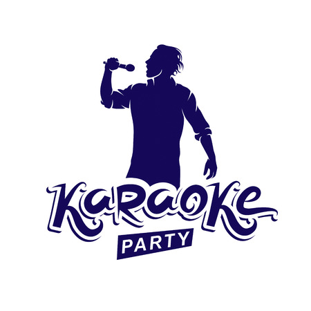 Happy man with microphone sings karaoke, live music concert vector invitation leaflet. Karaoke party writing. Illustration