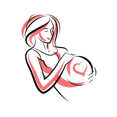Beautiful pregnant female body silhouette with heart shape.  Mother-to-be drawn vector illustration. Happiness and caring theme. Illustration
